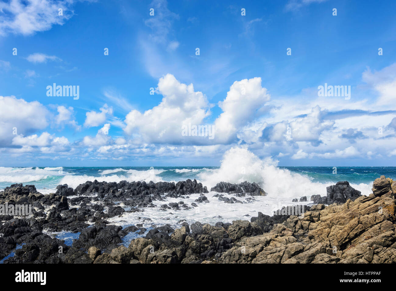 Heavy Seas with large waves at Minnamurra, Illawarra Coast, New South Wales, NSW, Australia - Stock Image