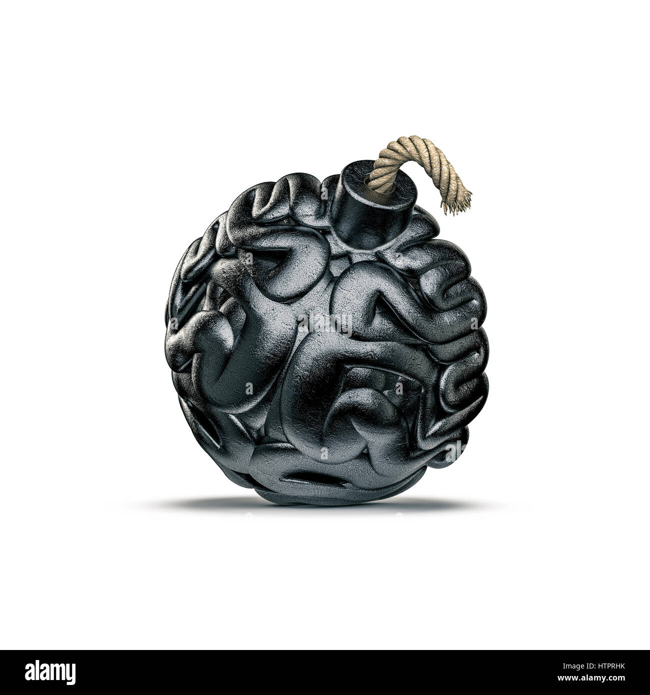 Brain bomb concept / 3D illustration of metal bomb with fuse shaped like human brain - Stock Image
