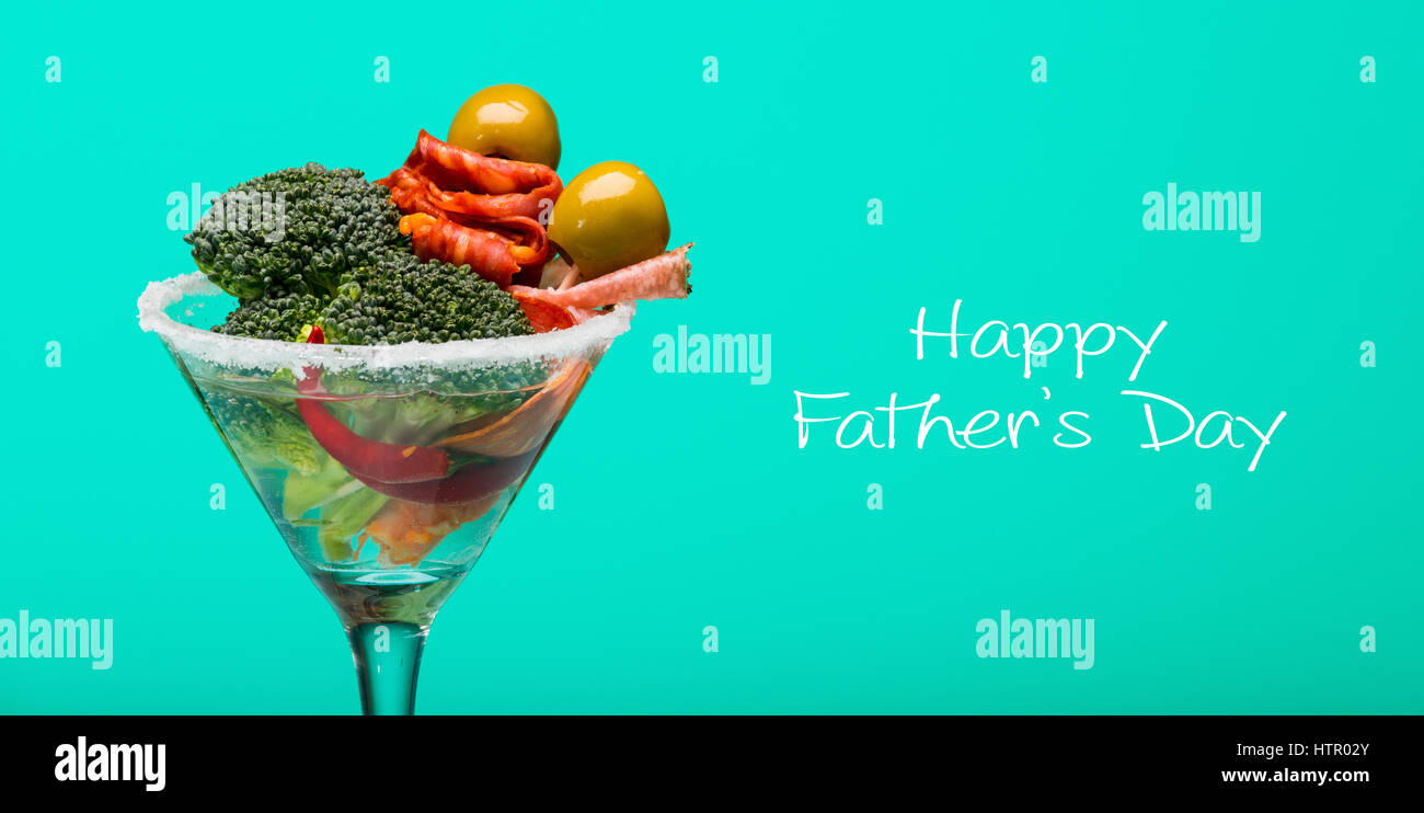 Unusual cocktail with meat and vegetables, fathers day concept - Stock Image
