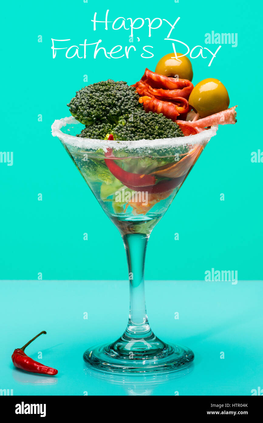 Fathers day concept, Unusual cocktail with meat and vegetables - Stock Image