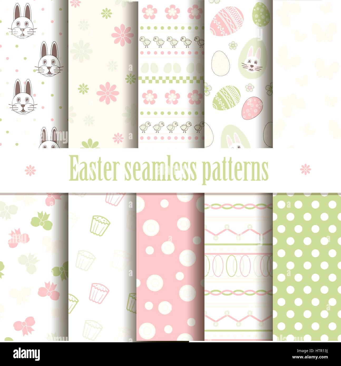 Cute easter vector patterns. Endless texture can be used for printing onto fabric and paper or scrap booking. Seamless - Stock Image