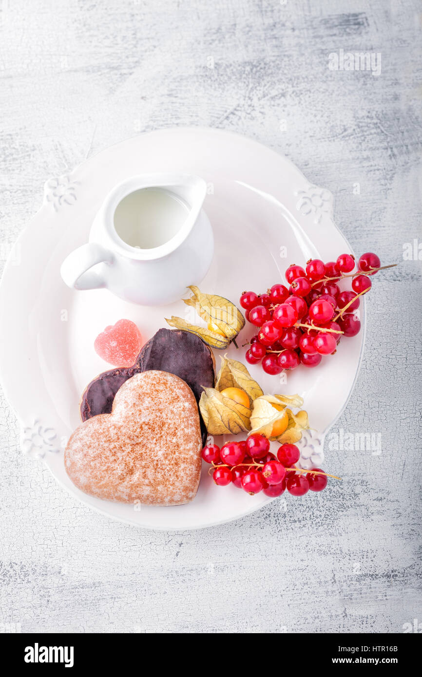 Honey cake for Valentine's Day  - Stock Image