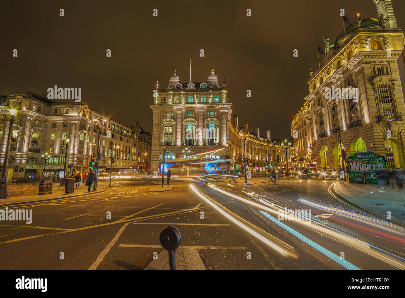 Urban view of london Picadilly Circus at night. long exposure hdr street photography in London, United Kingdom. - Stock Image