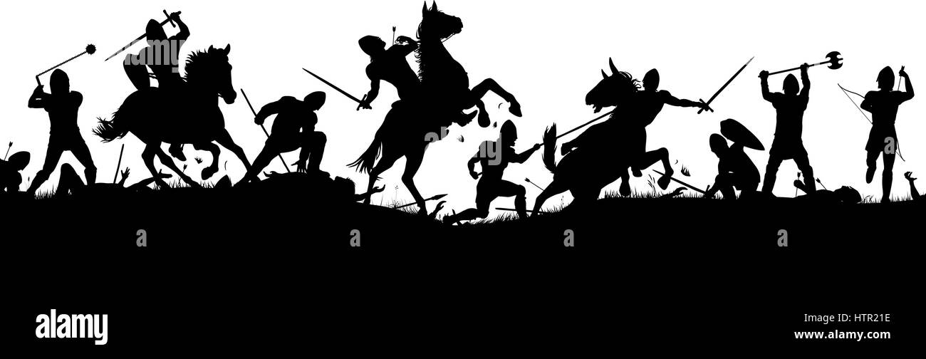 Vector silhouette illustration of a medieval battle scene with cavalry and infantry with figures as separate objects - Stock Vector