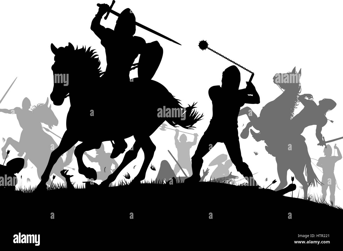 Vector silhouette illustration of a medieval battle scene with cavalry and infantry - Stock Vector