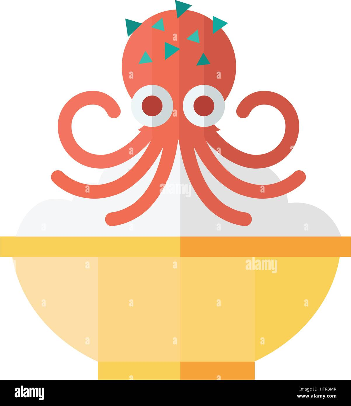 Red Squid and rice Food - Stock Vector