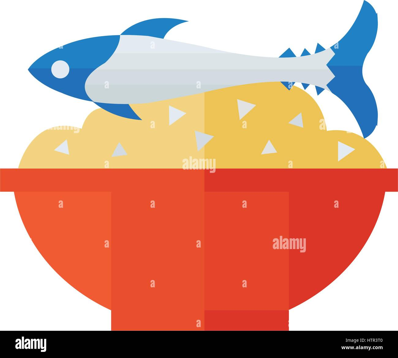 Rice with fish Vector Stock Vector Art & Illustration, Vector Image ...