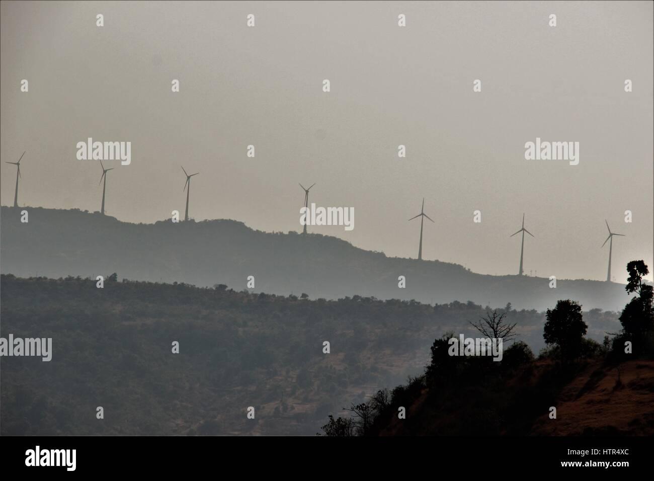 wind mills on Shayadri hills, Maharashtra, India - Stock Image
