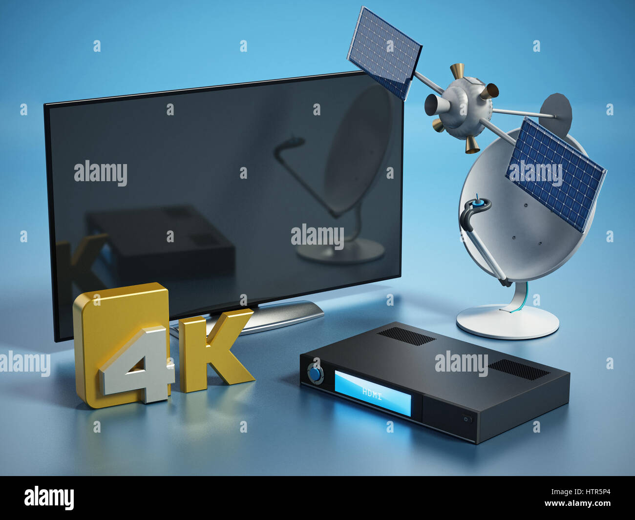 Satellite, dish, 4K ultra HD receiver and TV isolated on white background. 3D illustration. - Stock Image
