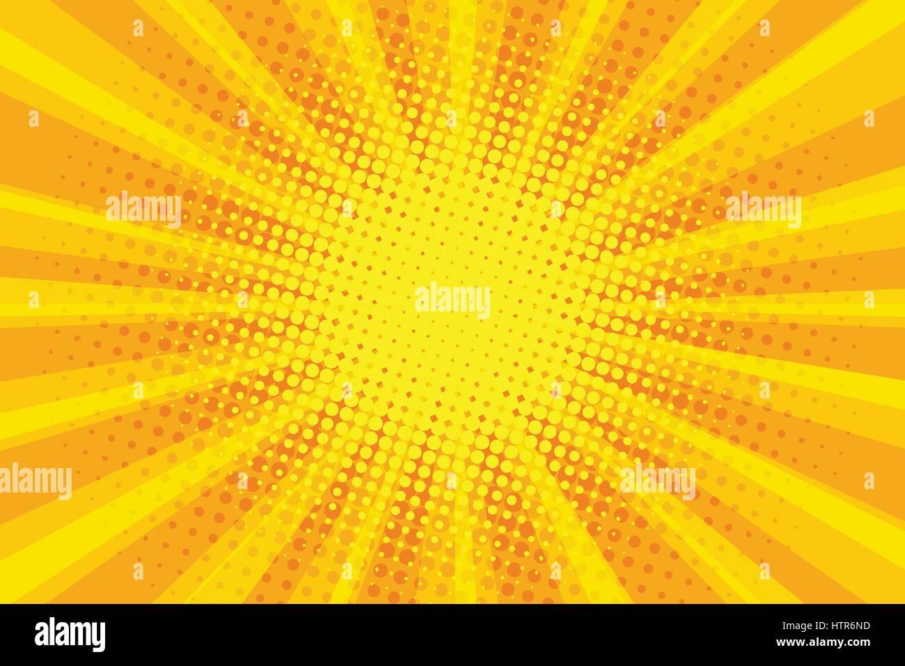 yellow orange sun pop art retro rays background - Stock Image