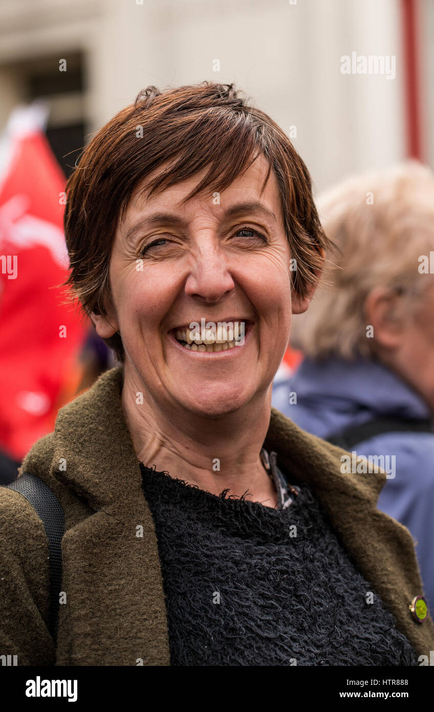 Actress Julie Hesmondhalgh at the # OUR NHS rally - demonstration in London, to defend the NHS against government - Stock Image