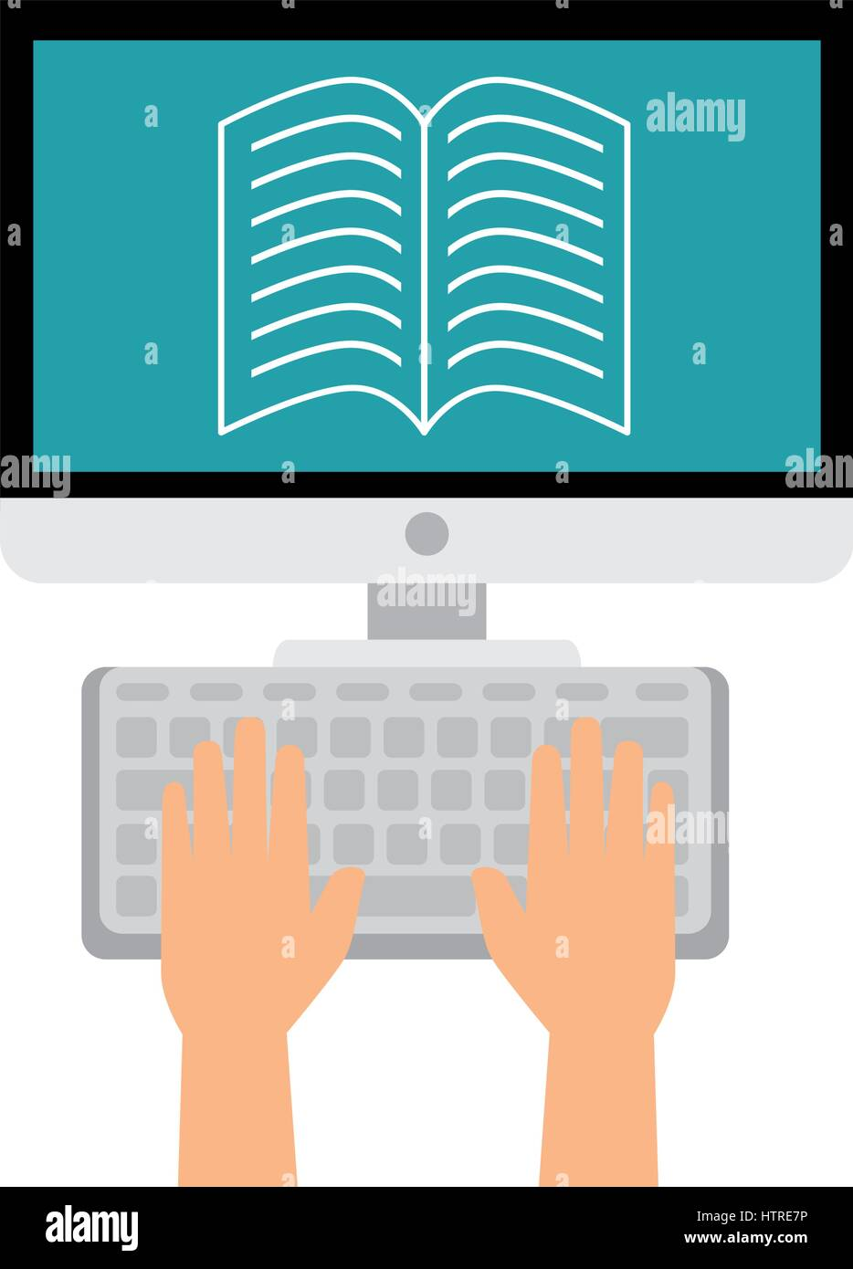computer desktop with ebook isolated icon - Stock Image