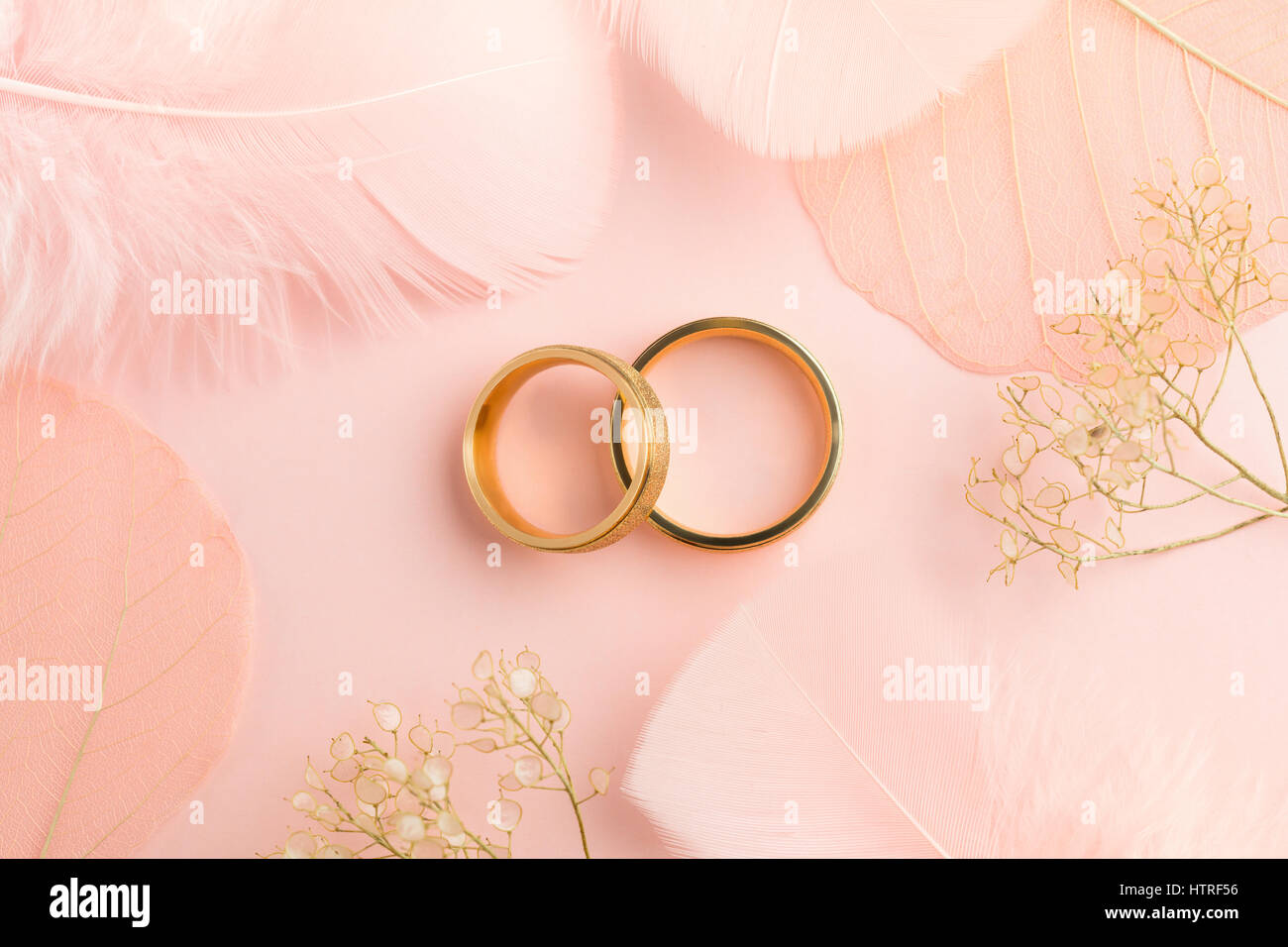Elegant Love background - two golden rings and decorations angelic ...