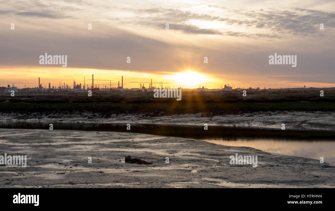 Sunset over Fawley Oil Refinery, Hampshire, UK - Stock Image