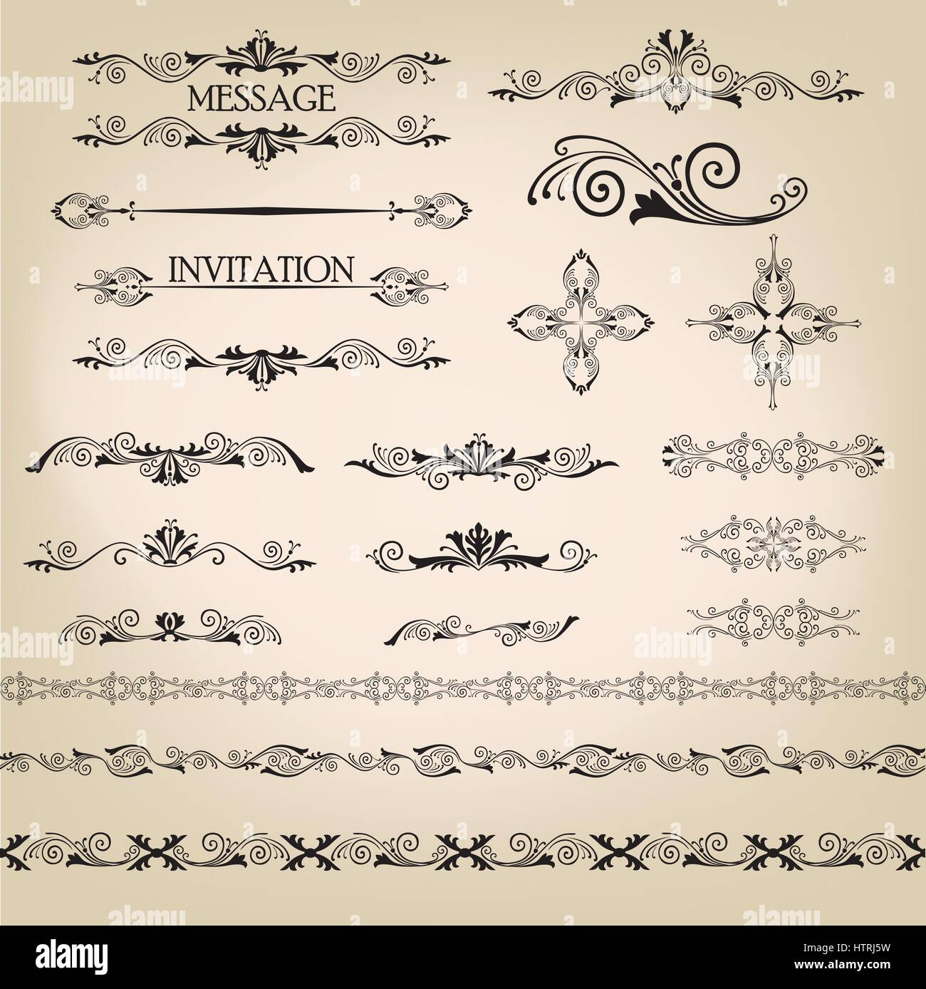 Calligraphic Flourish Design Elements Page Decoration Doodle Vignette Set In Retro Style Elegant Vintage Borders And Dividers For Greeting Card Ret
