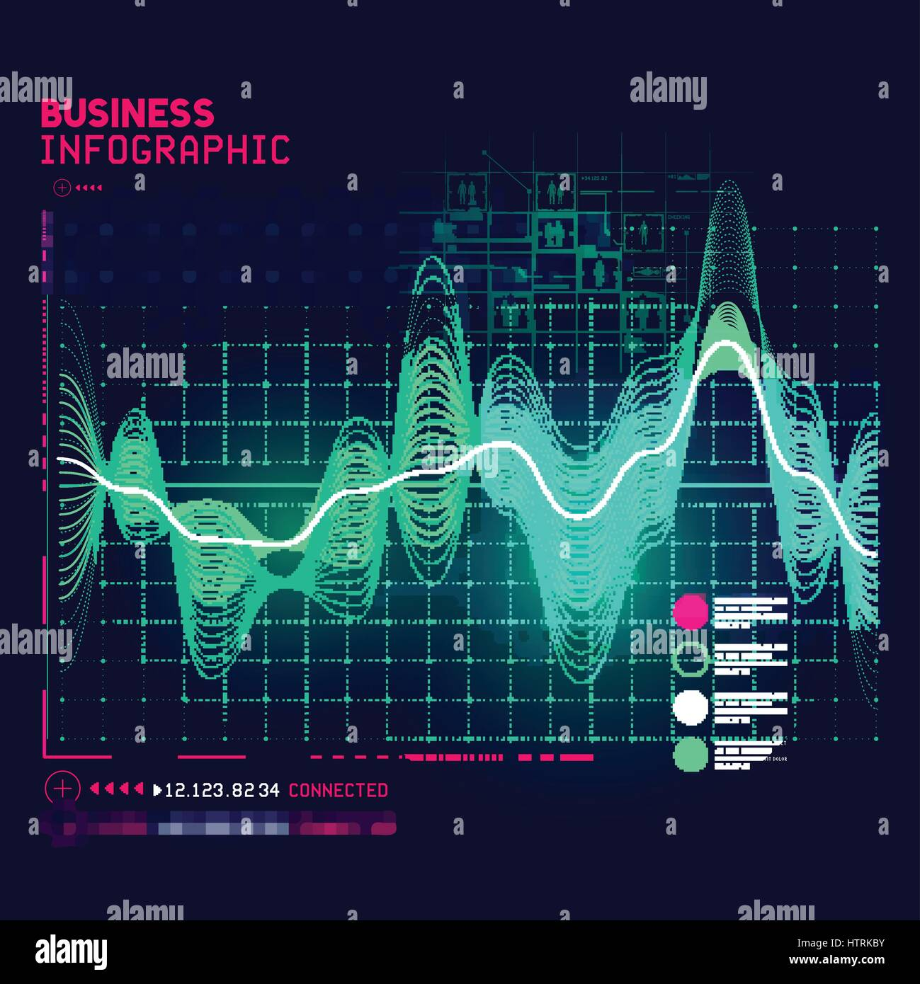 A detailed and technical business graph infographic element. Vector illustration - Stock Image