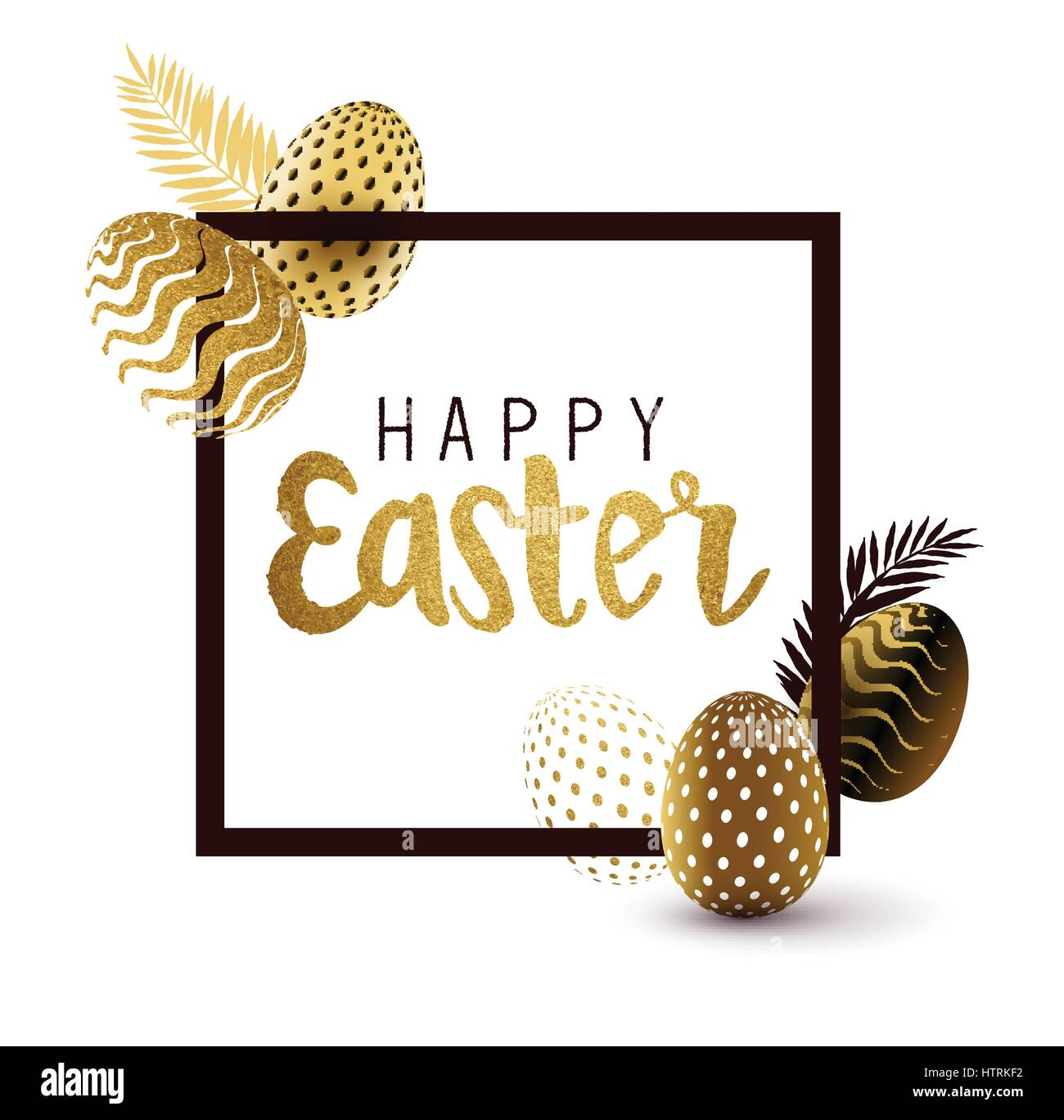 Easter Frame design with gold lettering and gold easter egg patterns. Vector illustration - Stock Image