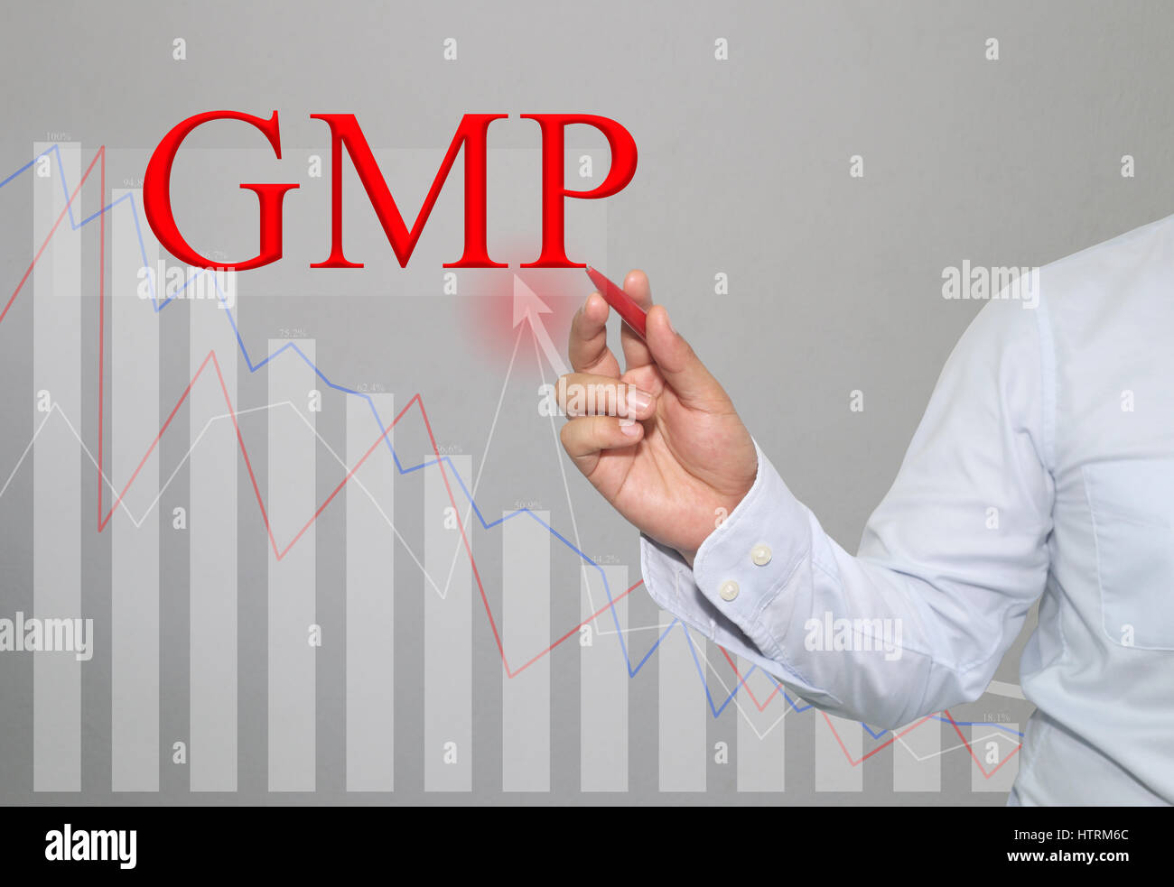 Hand of businessman Write a text of GMP in concept of presenting ideas in your business. - Stock Image