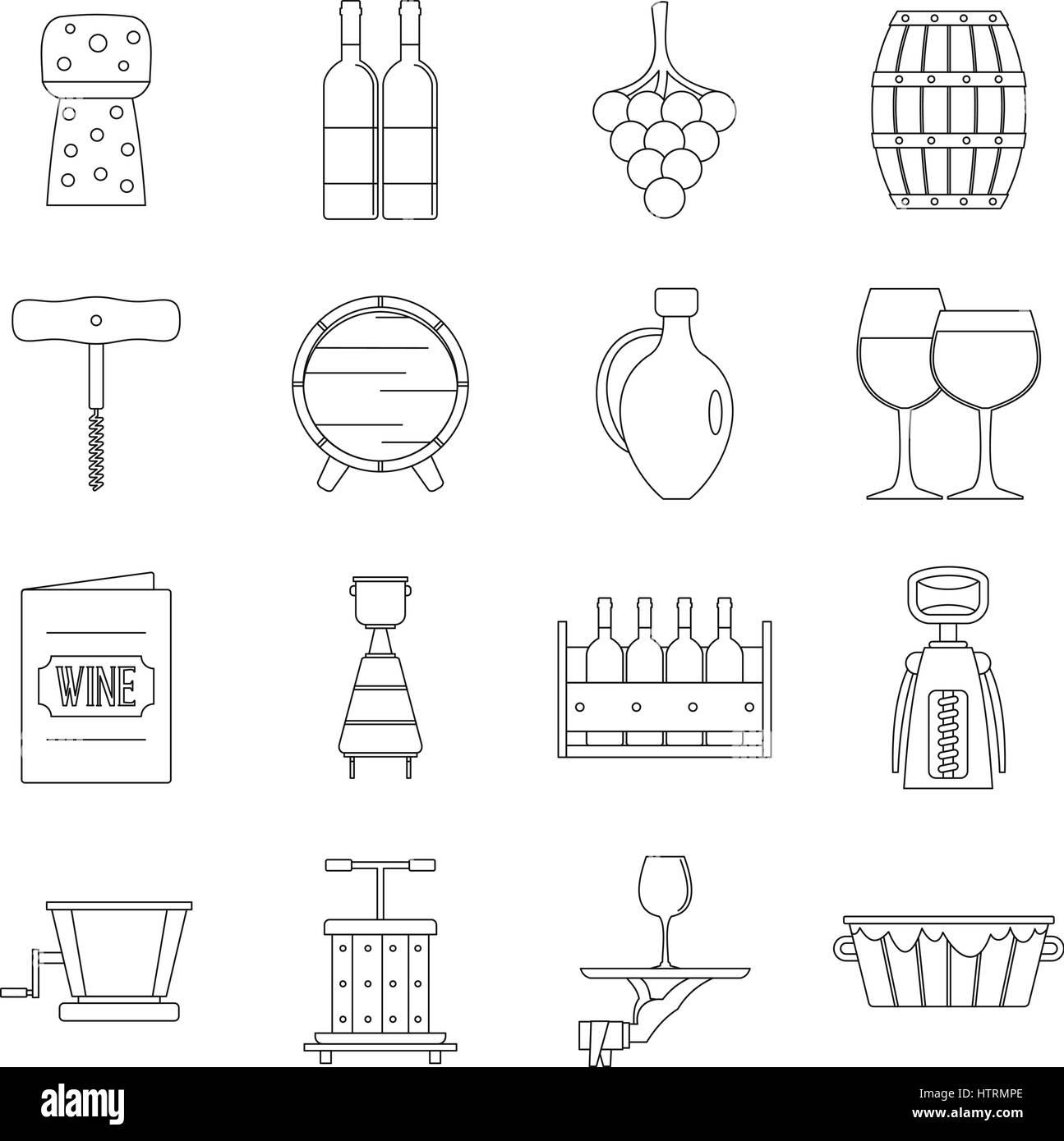 Shopping cart icons set, outline style - Stock Image