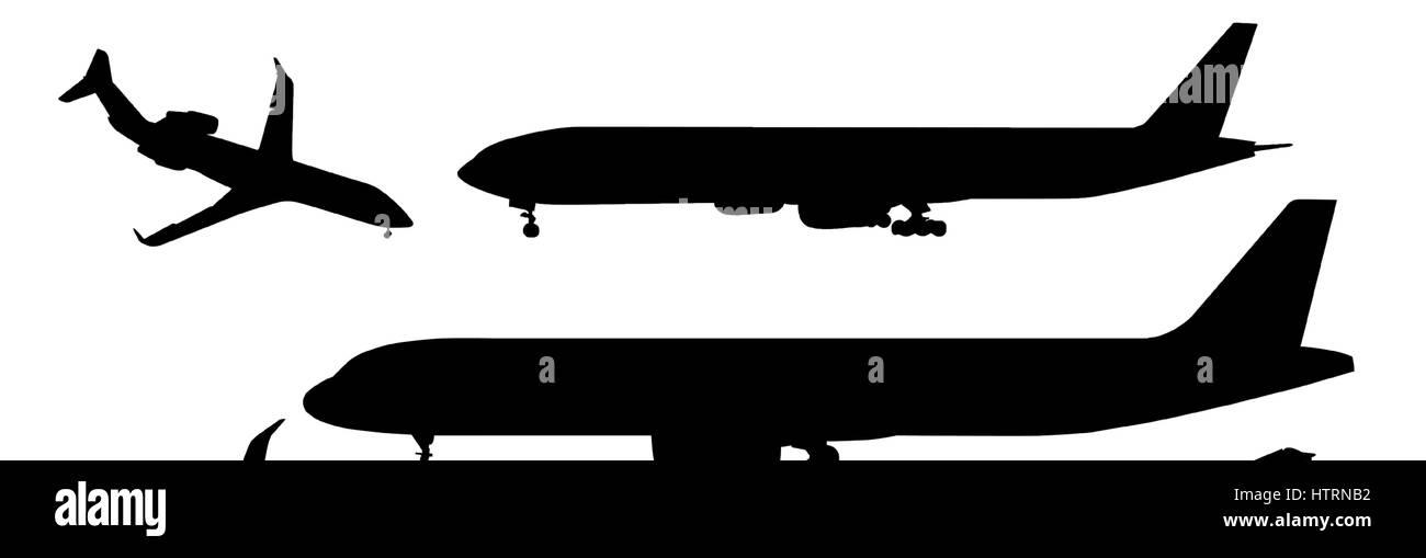 Black airplanes icon set - Stock Image