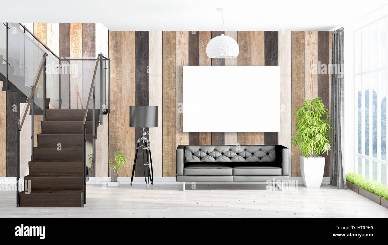 Beautiful living room interior with mock up poster frame. 3D Stock ...