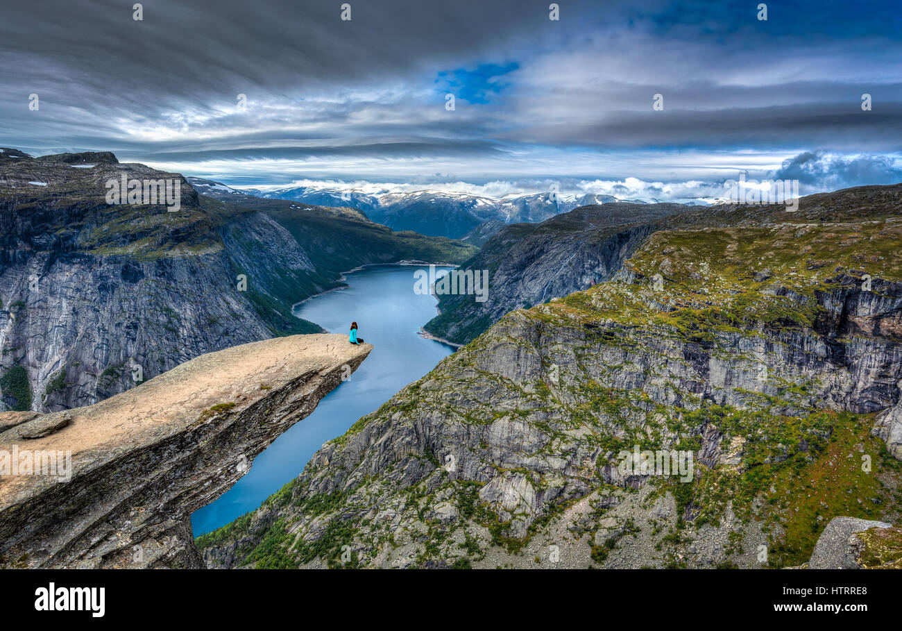 The amazing Trolltunga in Norway. Legend has it that a playful Troll wanted to test the legends and stuck his tongue Stock Photo
