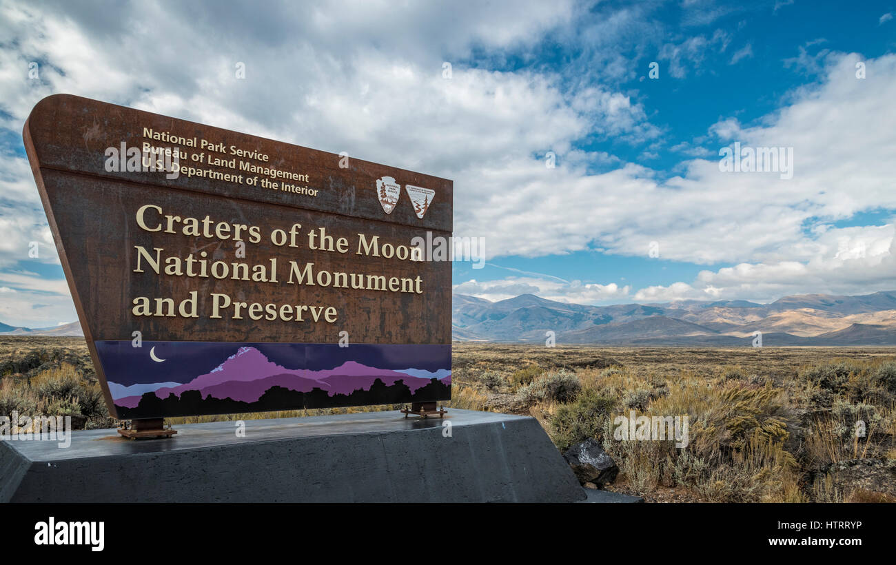 Entry sign at Craters of the Moon National Monument and Preserve, Idaho, USA. - Stock Image