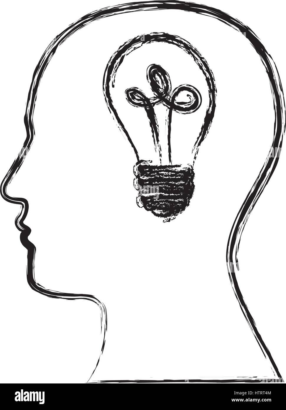 monochrome sketch of silhouette human face with light bulb in mind - Stock Image