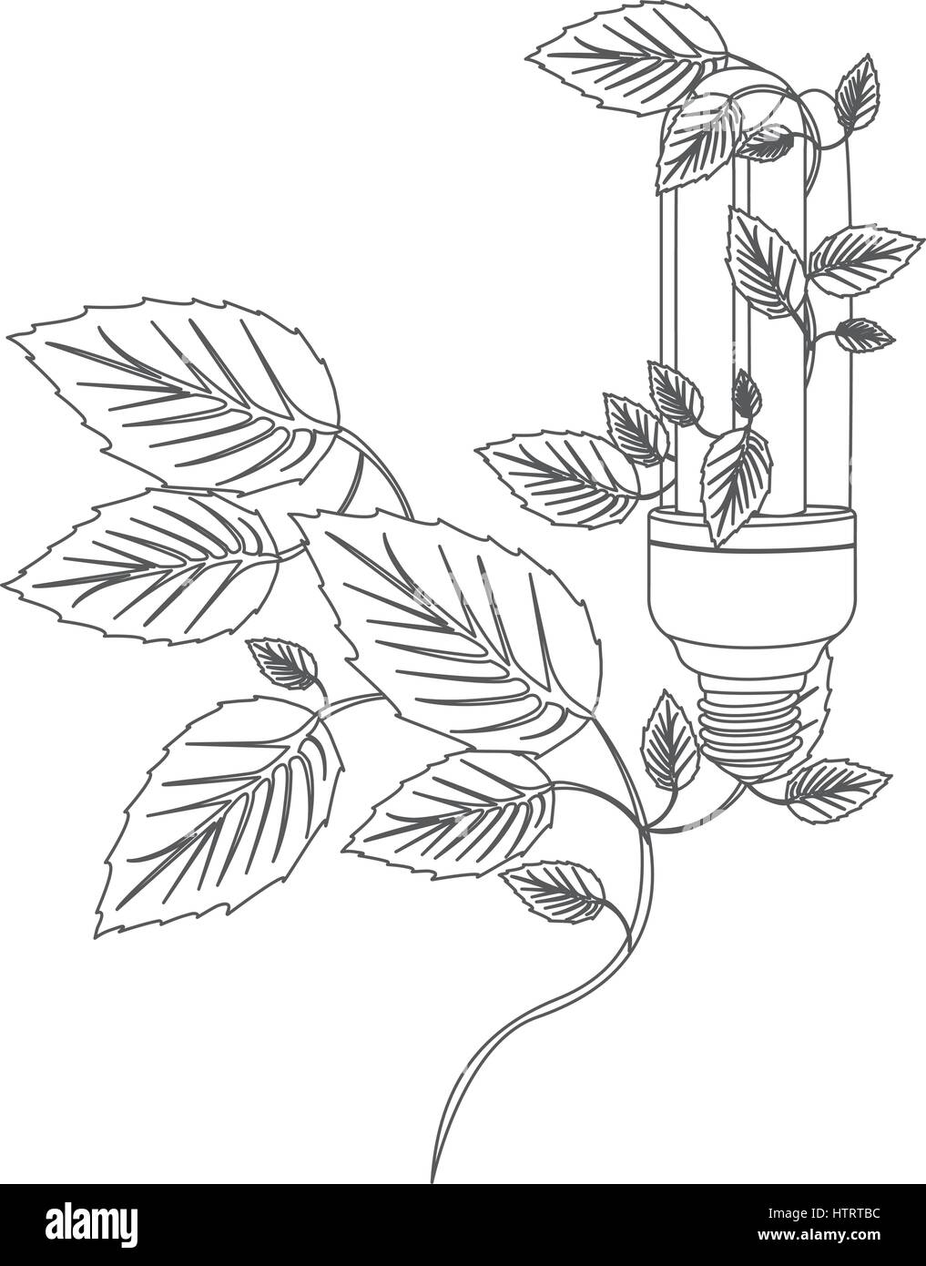 Grayscale Contour With Fluorescent Bulb And Creeper Plant Stock Vector Image Art Alamy