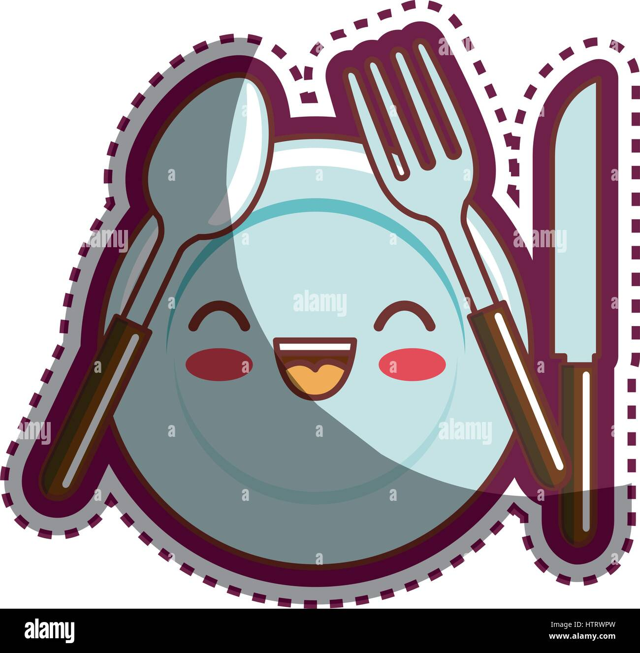 kitchen utensils cartoon character - Stock Vector
