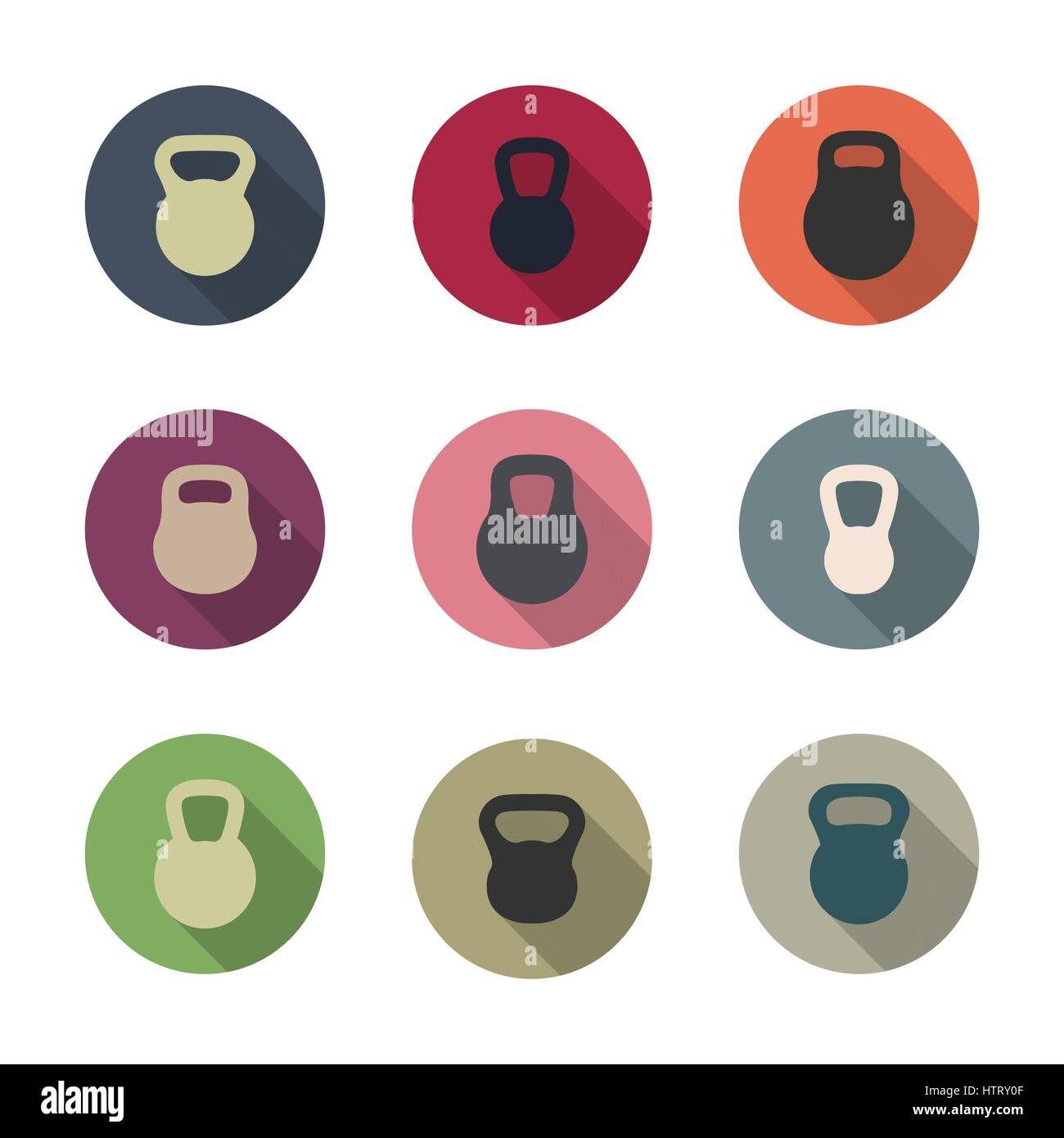Icons kettlebells with a long diagonal shadow isolated on white background, vector illustration. - Stock Vector