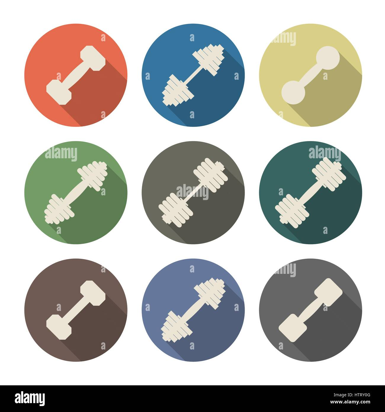 Icons dumbbell with a long diagonal shadow isolated on white background, second part, vector illustration. - Stock Vector