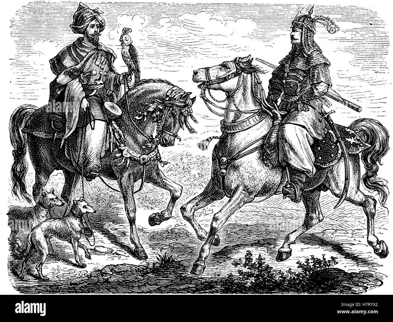 Tribesmen, chiefs from the villages of Lebanon, ca 1880, reproduction of a woodcut from the year 1880, digital improved - Stock Image
