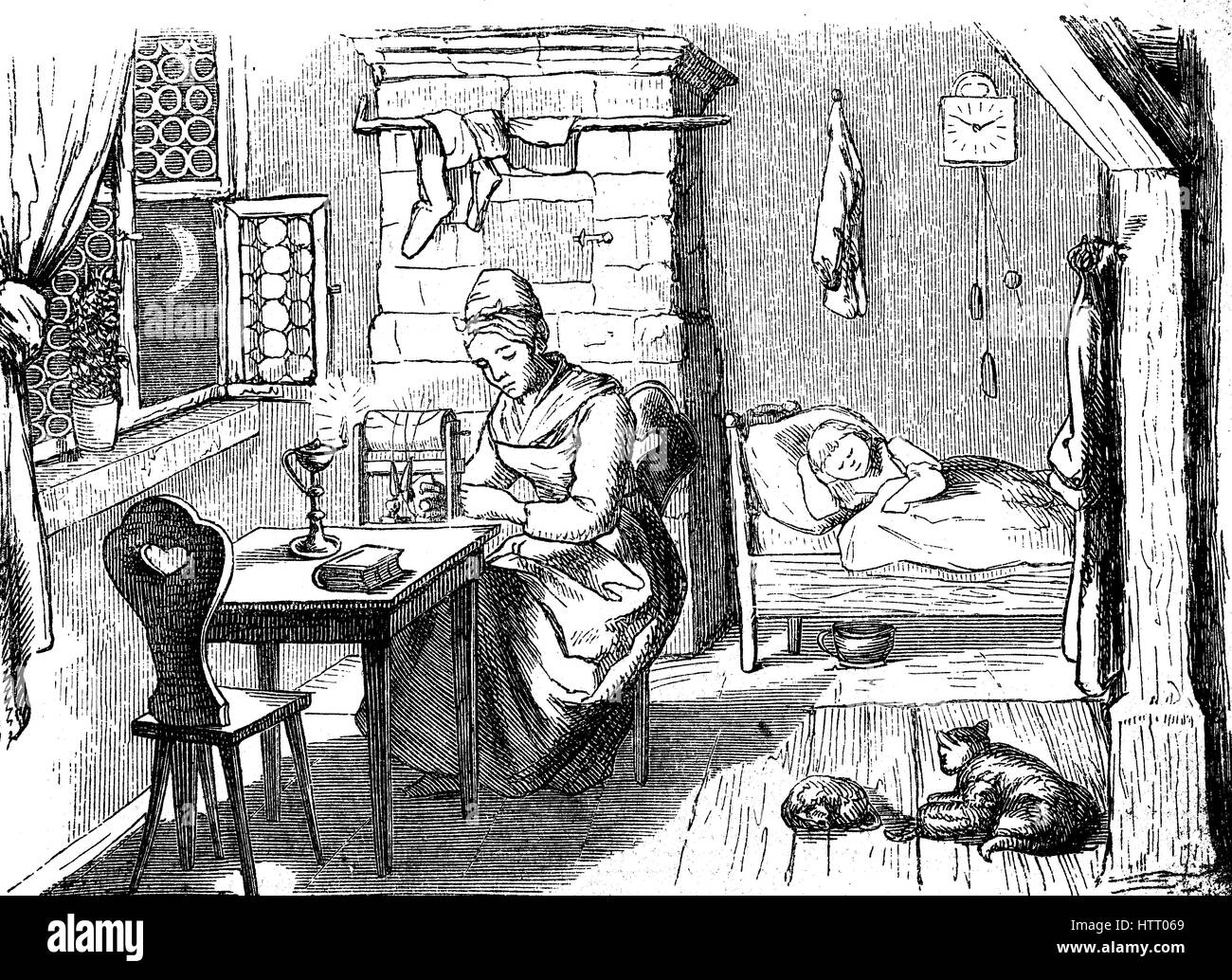 woman doing bobbin lace in her home at the Ore Mountains, Saxony, Germany, reproduction of a woodcut from the year - Stock Image