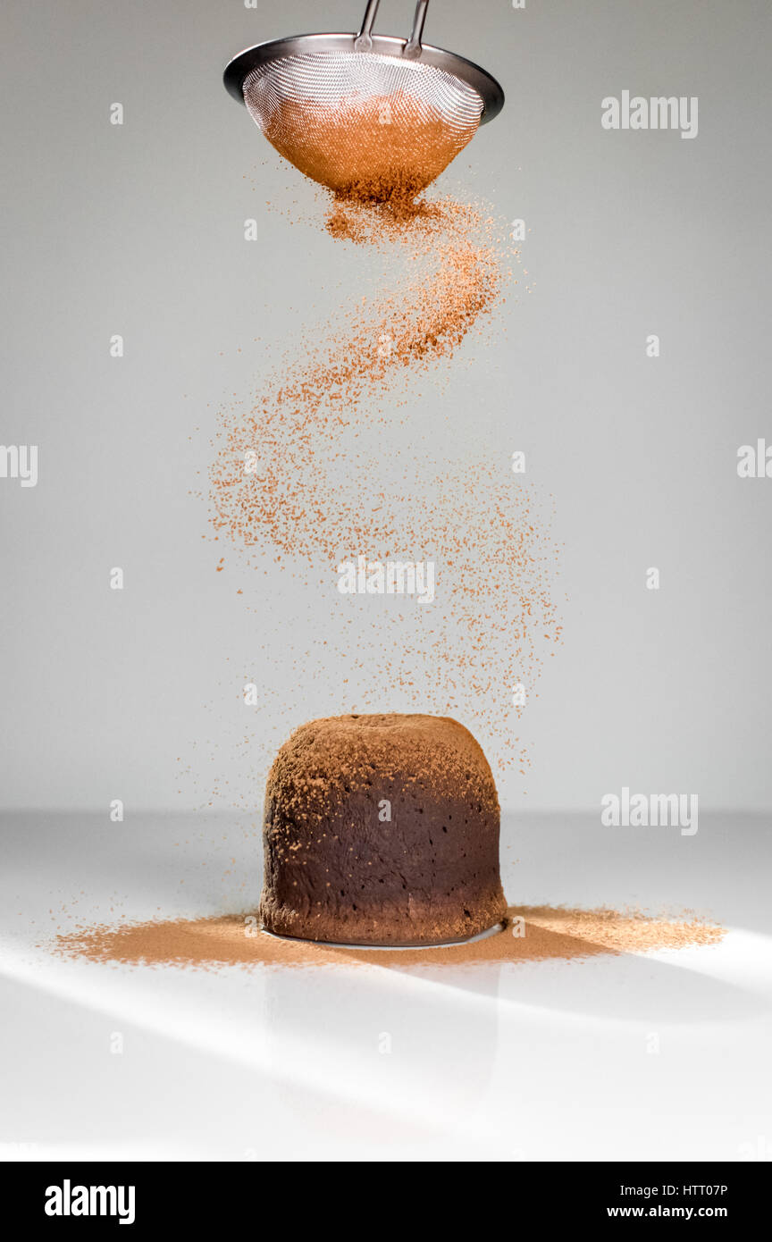 Chocolate Fondant Cake With Icing Sugar - Stock Image