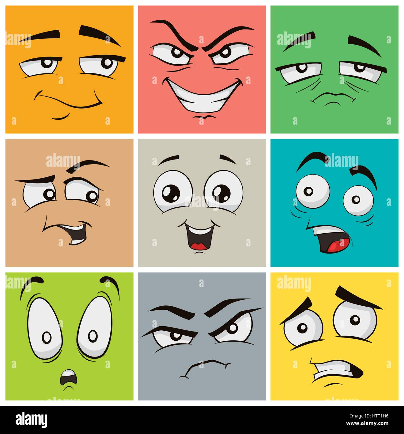 funny cartoon faces with emotions vector clip art