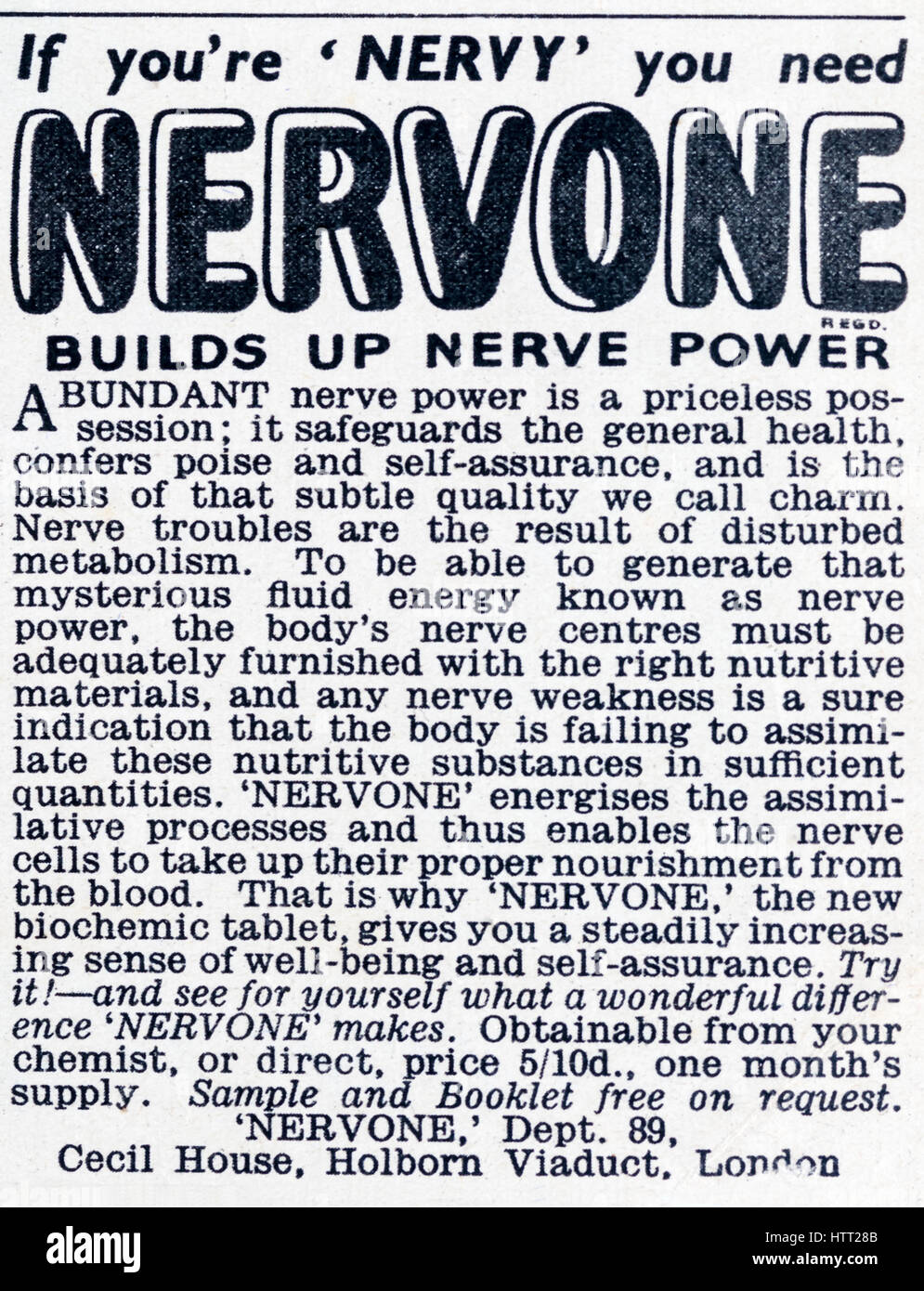 A 1950s magazine advertisement advertising Nervone to build up Nerve Power. - Stock Image