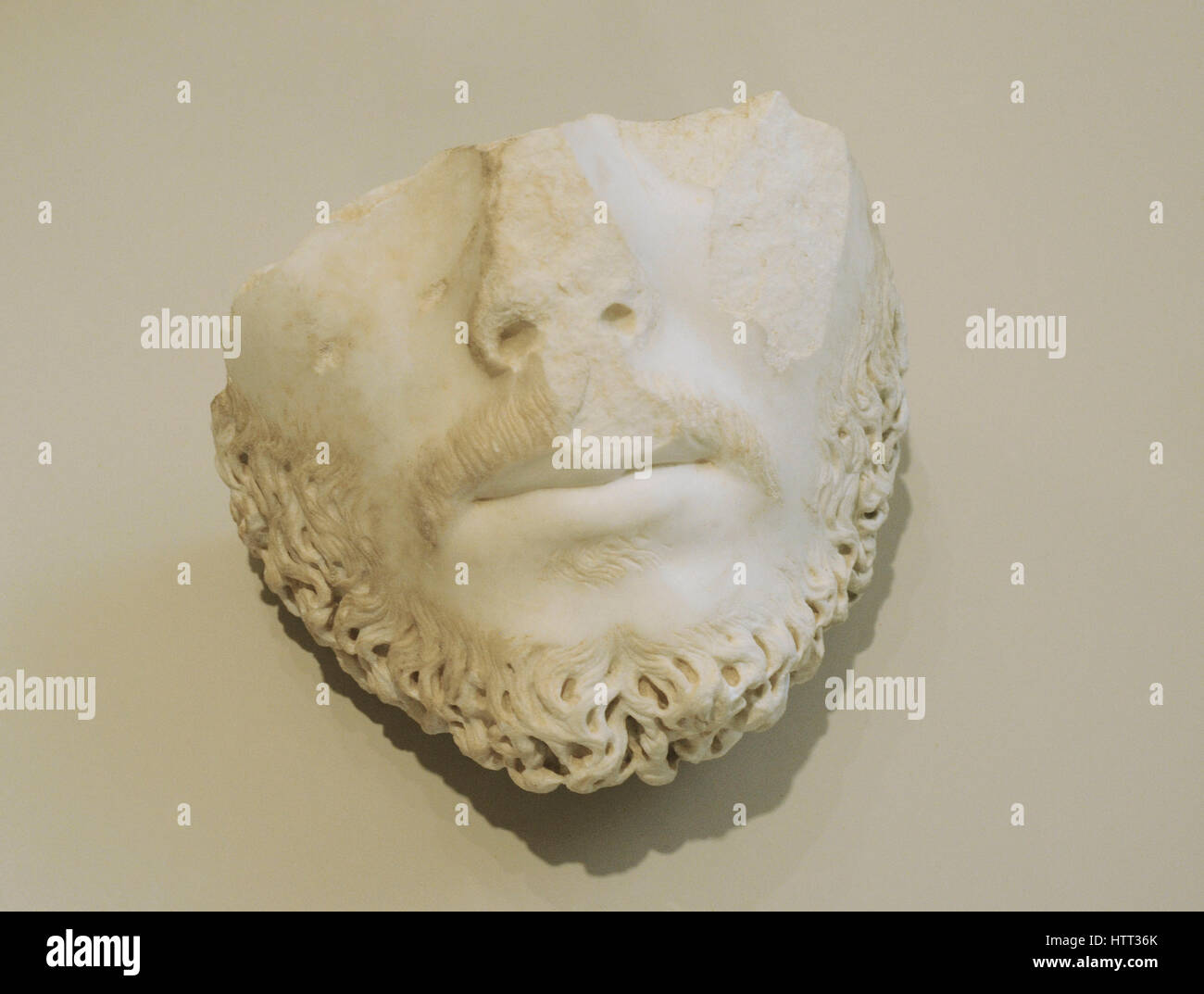 Fragment of portrait of the emperor Marcus Aurelius or a contemporary personage. 2nd century AD. Marble. Spain.National - Stock Image