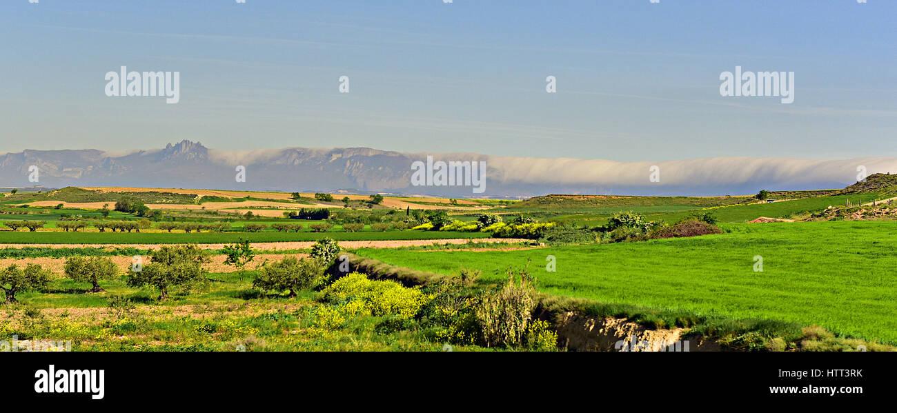 Spanish Cordillera Contabrica - Cantabrian Mountains - seen from the Camino de Santiago de Compostela - Stock Image