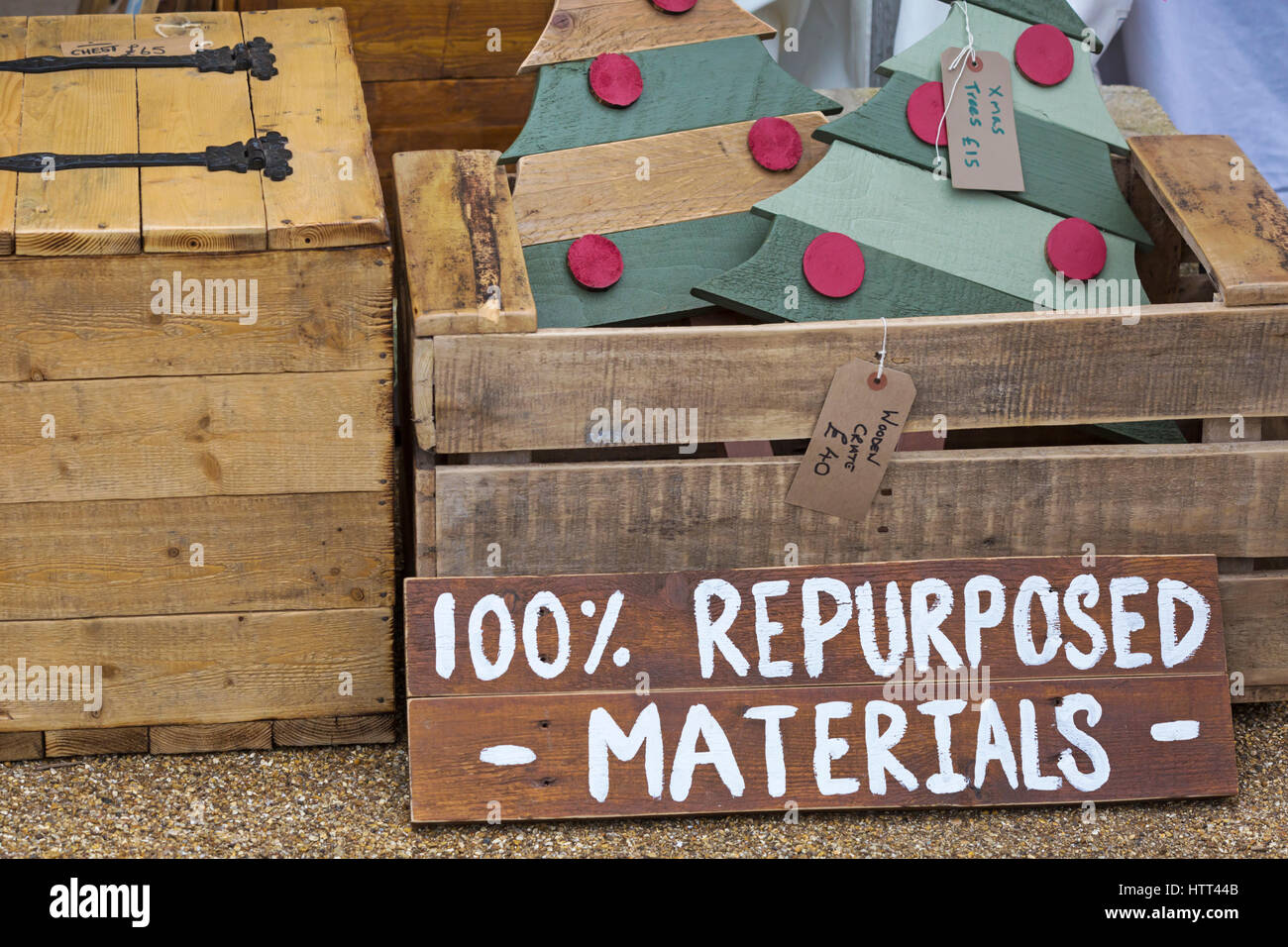 100% repurposed materials items for sale at Victorian Festival of Christmas at Portsmouth, Hampshire, England UK - Stock Image