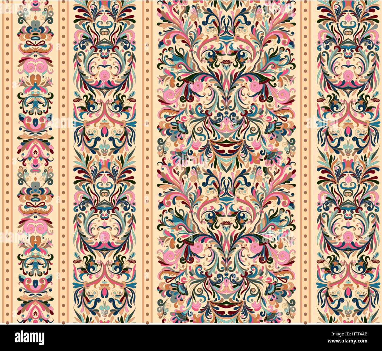 Striped Seamless Pattern On Baroque Style Seamless Floral