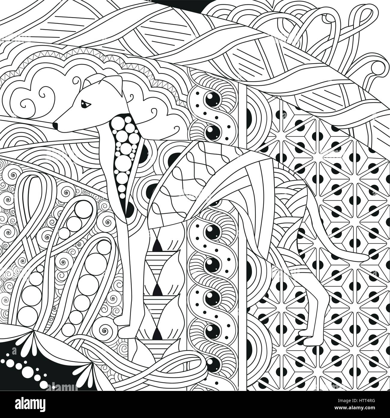 dog zentangle styled with clean lines for coloring book for anti ...