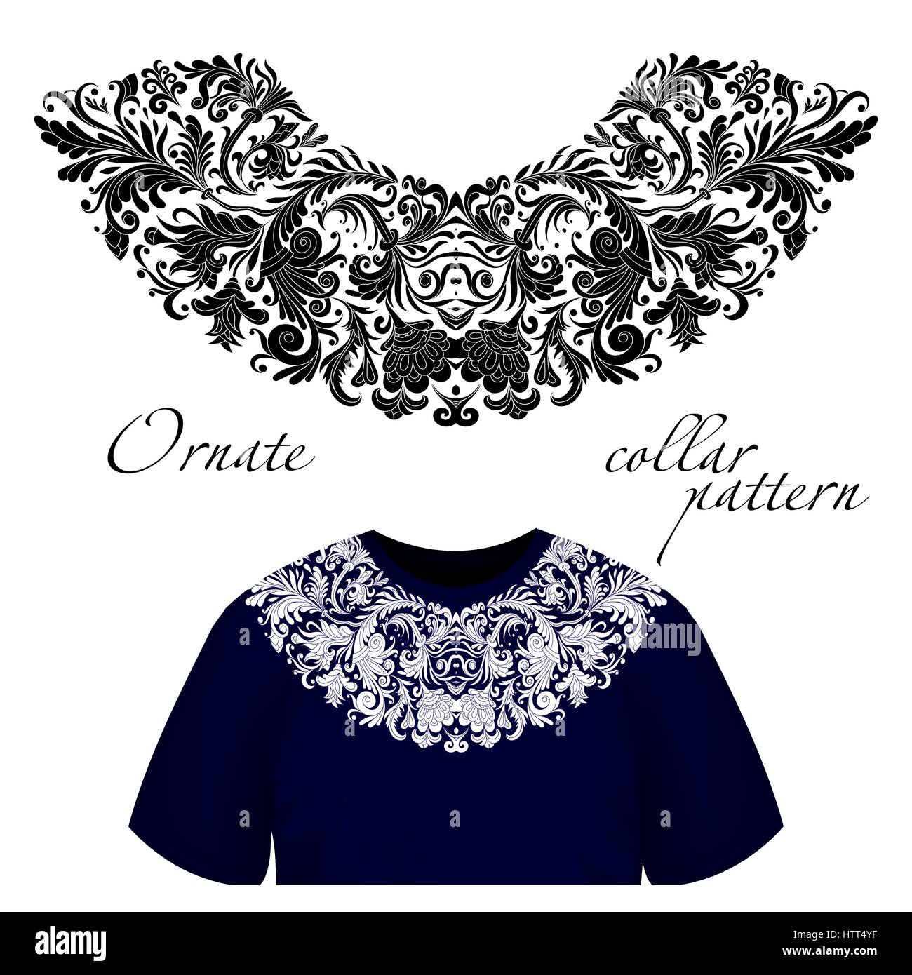 b2b57abff Vector design for collar shirts, shirts, blouses, T-shirt. One colors  ethnic flowers neck. Paisley decorative border