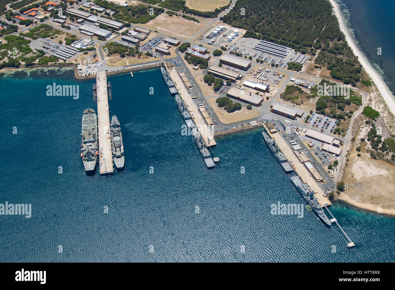 Aerial View Of The Naval Base Of Hmas Stirling On Garden Island In