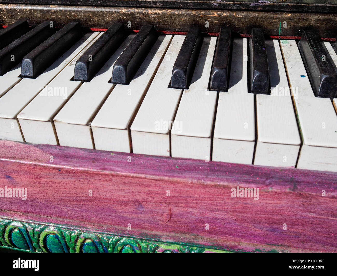 Denver, CO - 20 July 2016: One of 17 public pianos put up on Denver's 16th Street Mall in Denver, CO. The pianos - Stock Image