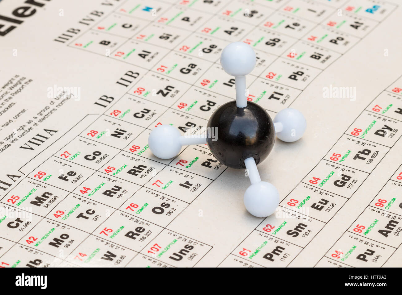 Ball And Stick Model Of Methane (CH4) With The Periodic Table Of Elements  On The Background.