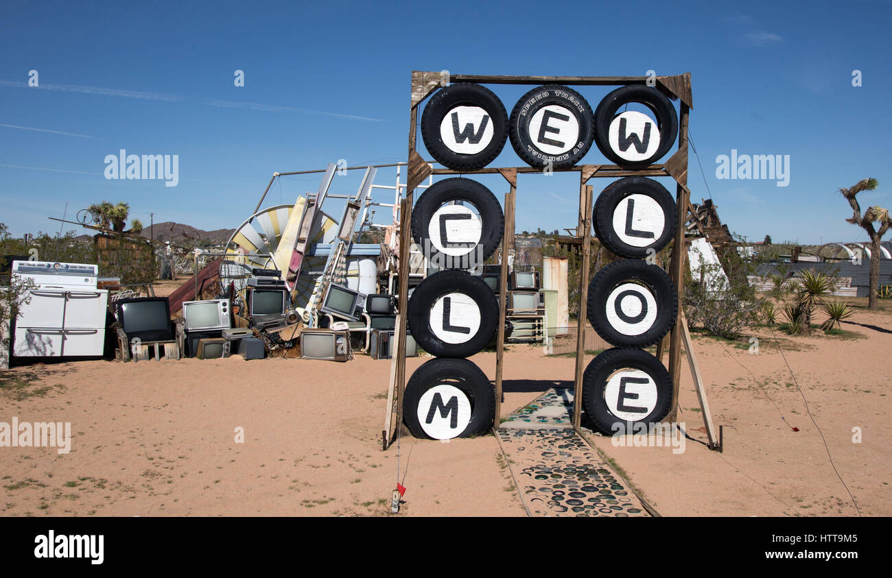 Exterior view of the entrance to The Noah Purifoy Outdoor Desert Art Museum of Assemblage Art - Stock Image