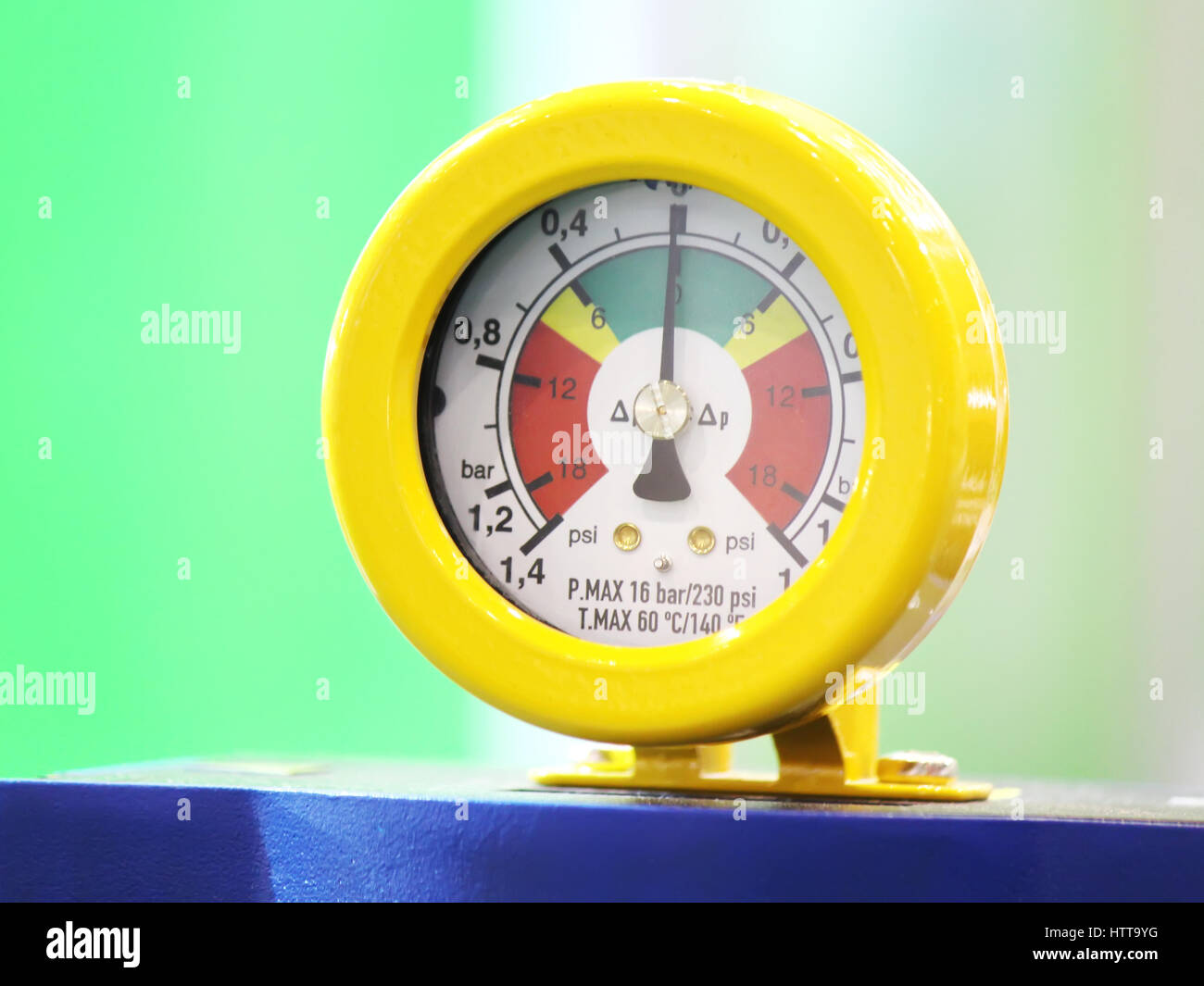 Pressure measuring instrument - Industrial Pressure Gauge - Stock Image