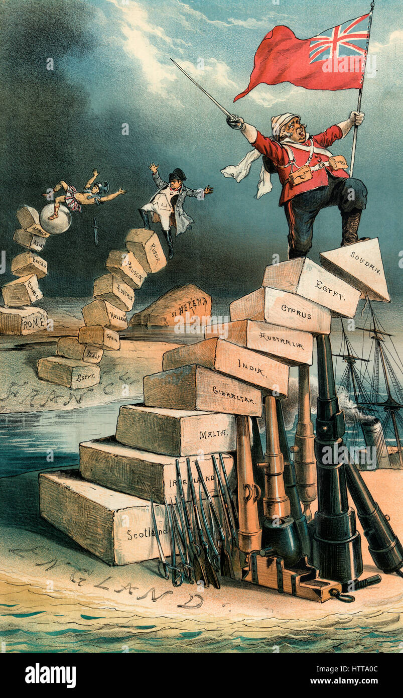 Illustration shows Julius Caesar or a Roman centurion, in the background, tumbling off a pillar of stones labeled - Stock Image