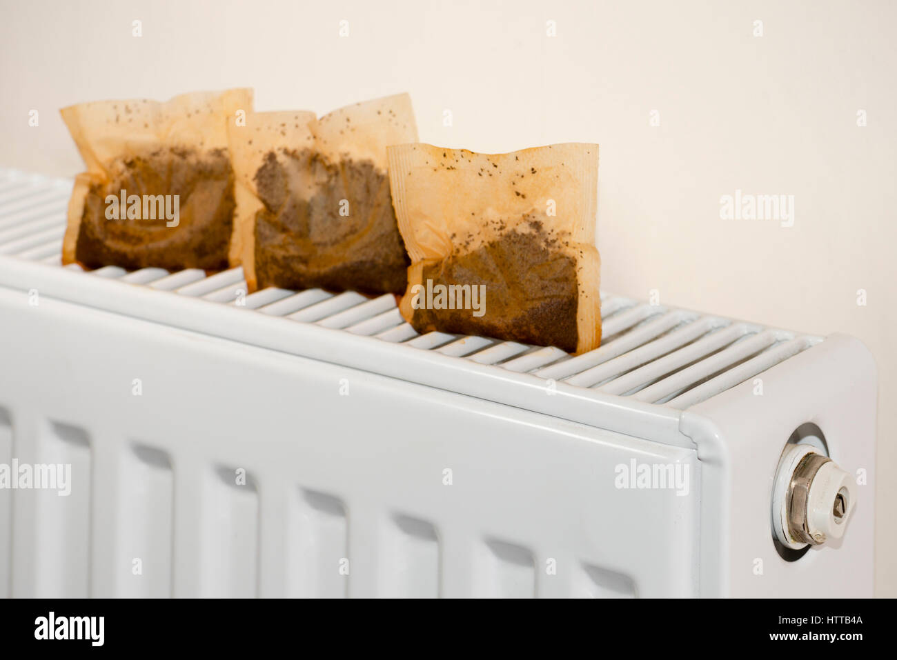 Used tea bags drying on a radiator. Money saving frugal lifestyle concept. - Stock Image